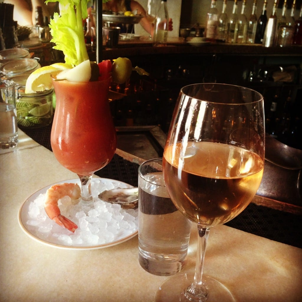 Rose and oyster cocktail shrimp bloody mary