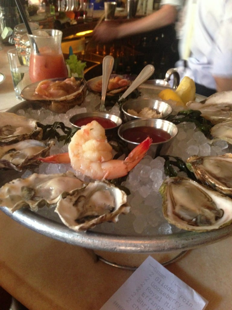 Oysters, cocktail shrimp, cockles at Maison Premiere